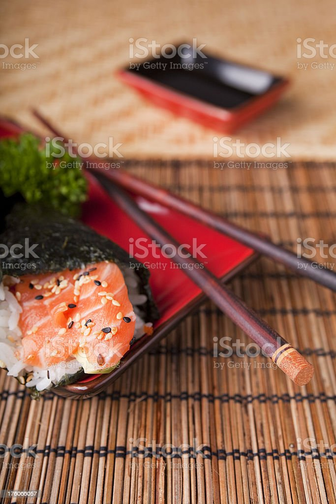 Various Japanese sushi on a plate royalty-free stock photo