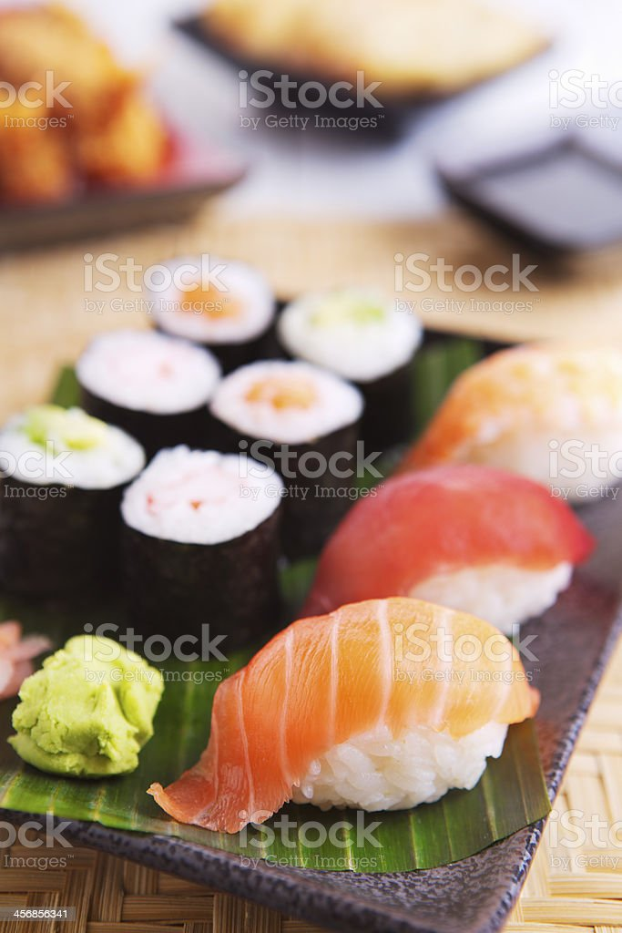 Various Japanese sushi on a plate, shallow depth of field royalty-free stock photo