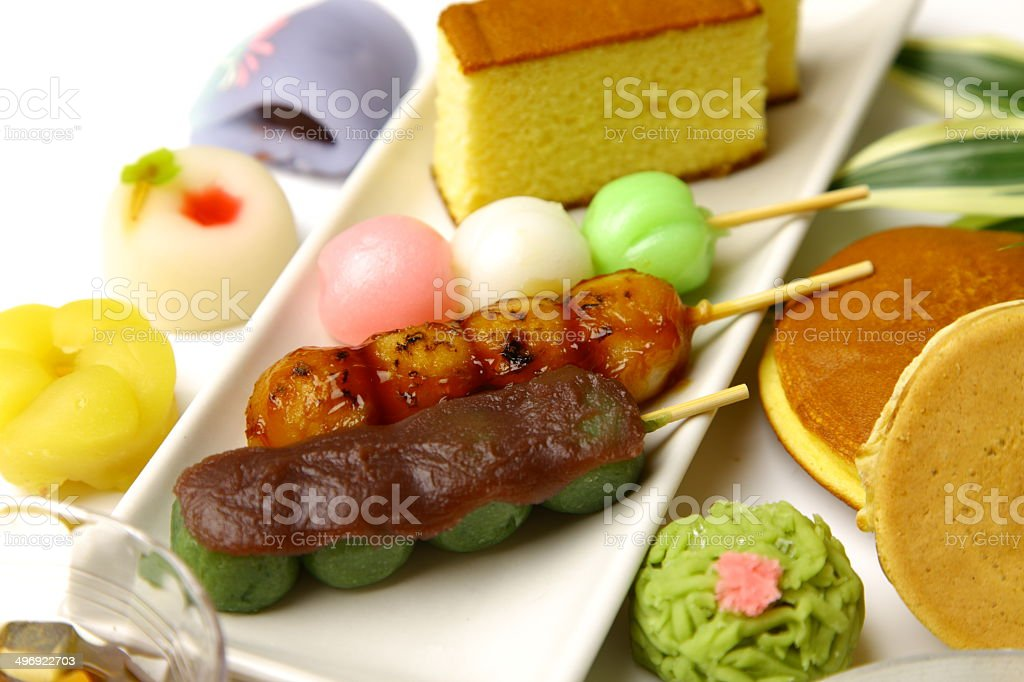 Various Japanese-style confectionery stock photo