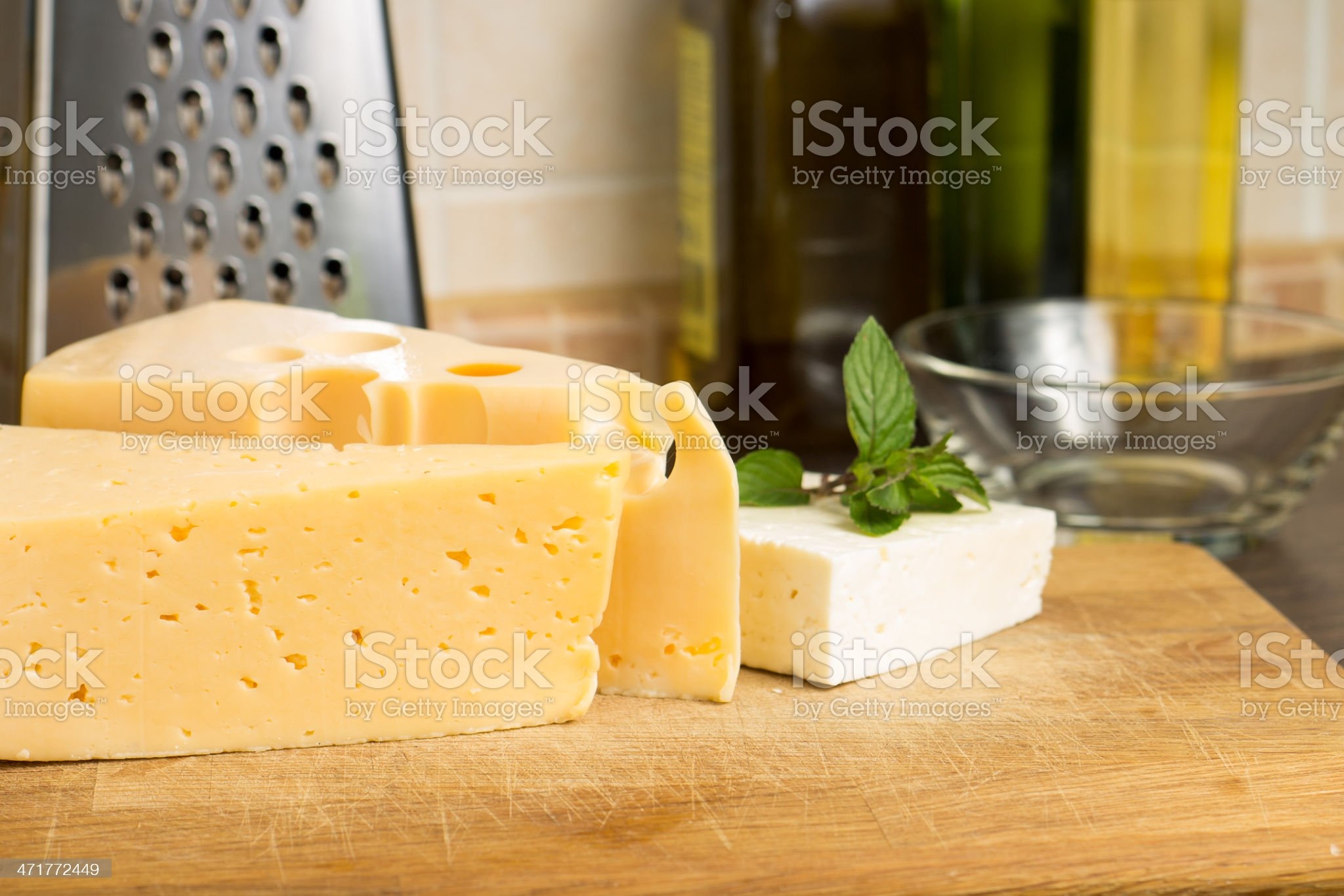 Various kind of cheese on Wooden Board royalty-free stock photo