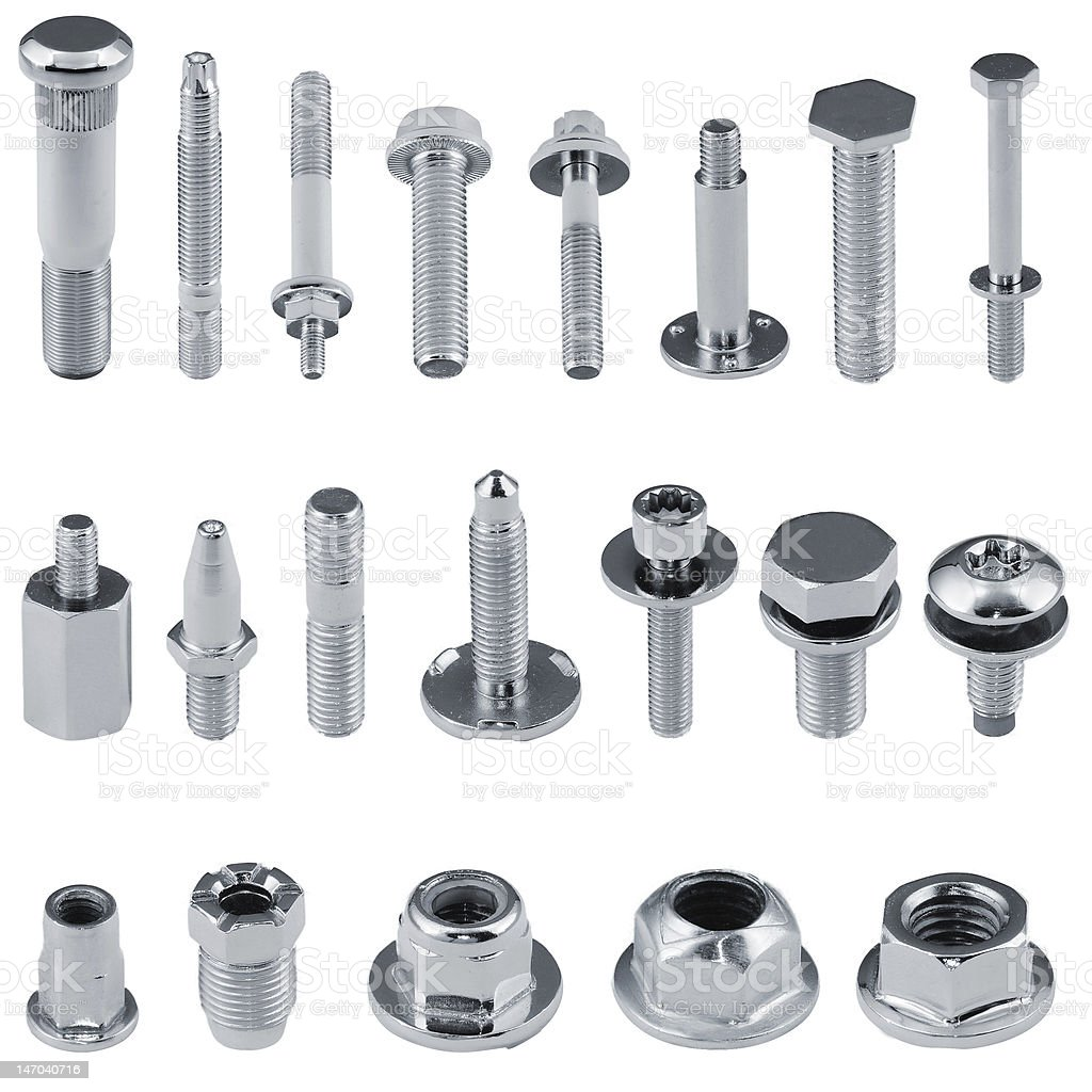 Various kind of fasteners bolts, nuts, studs, screws stock photo