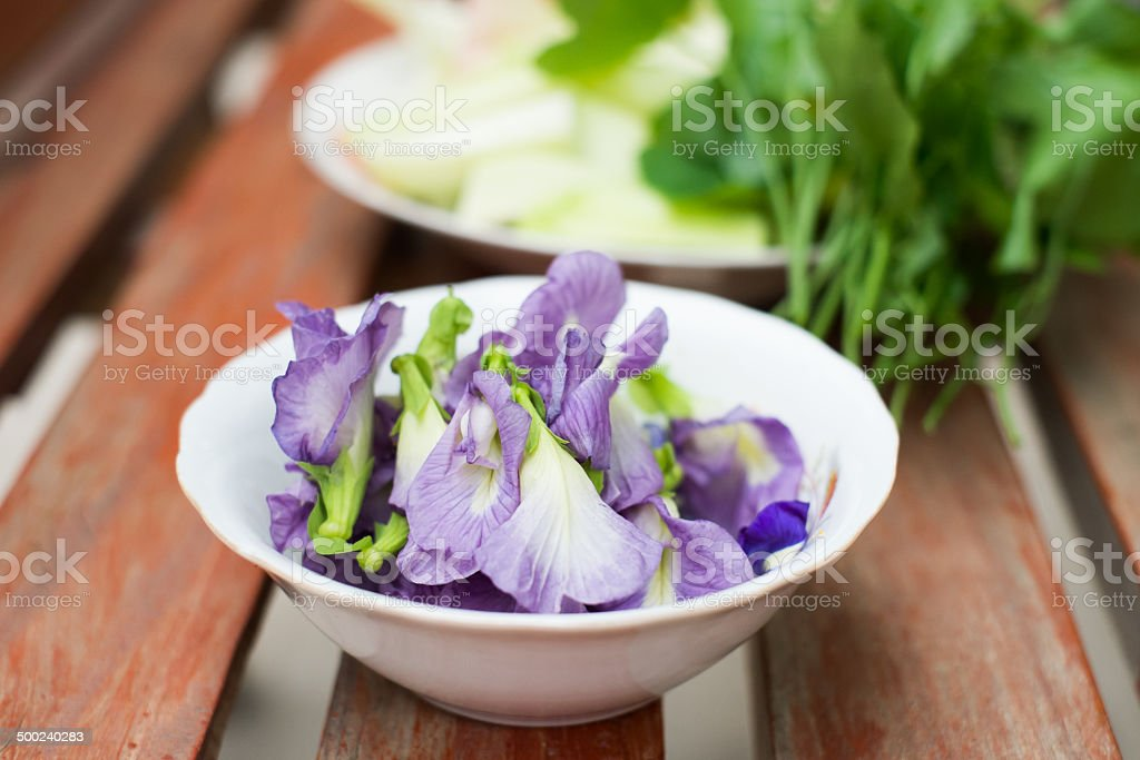 various kind of local vegetables and herbs ready for cooking stock photo