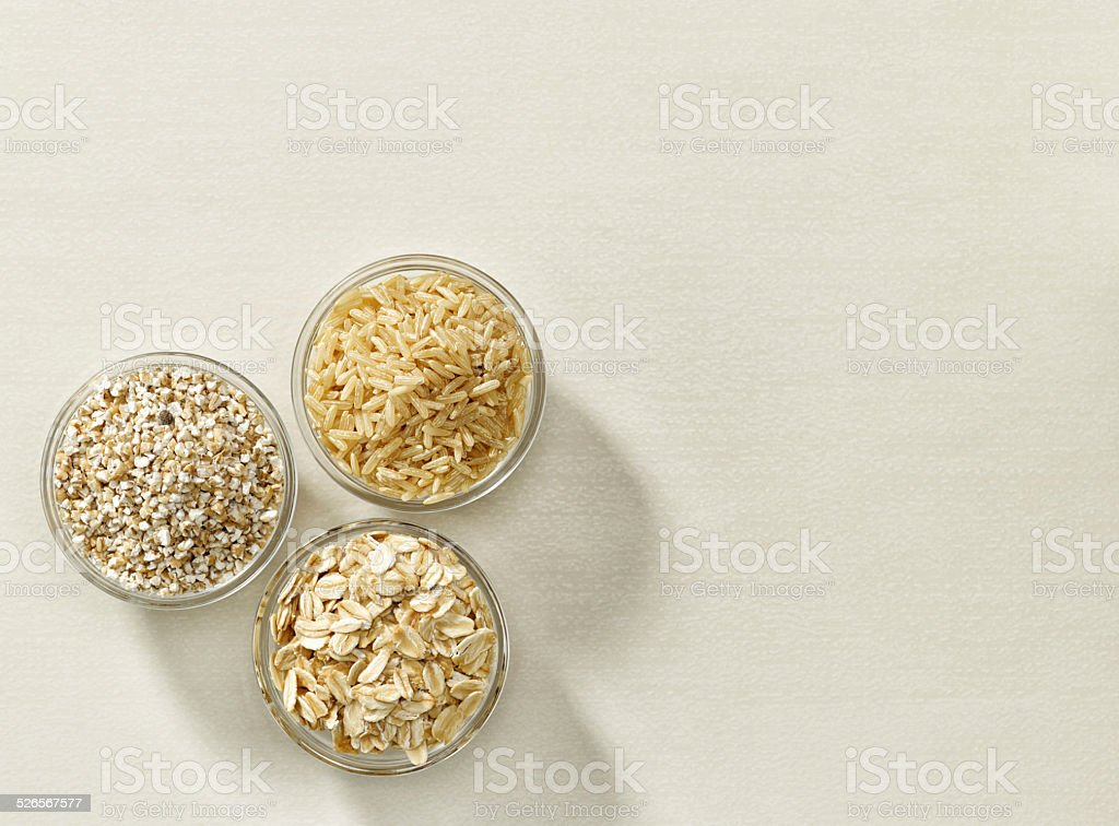 various kinds of cereal grains stock photo