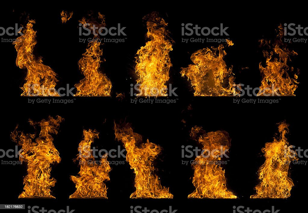Various kinds of flames royalty-free stock photo