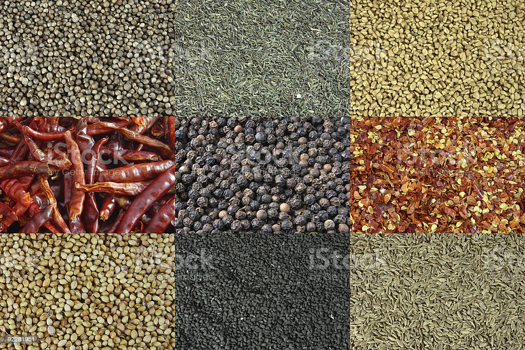Various kinds of spices, Backgrounds royalty-free stock photo