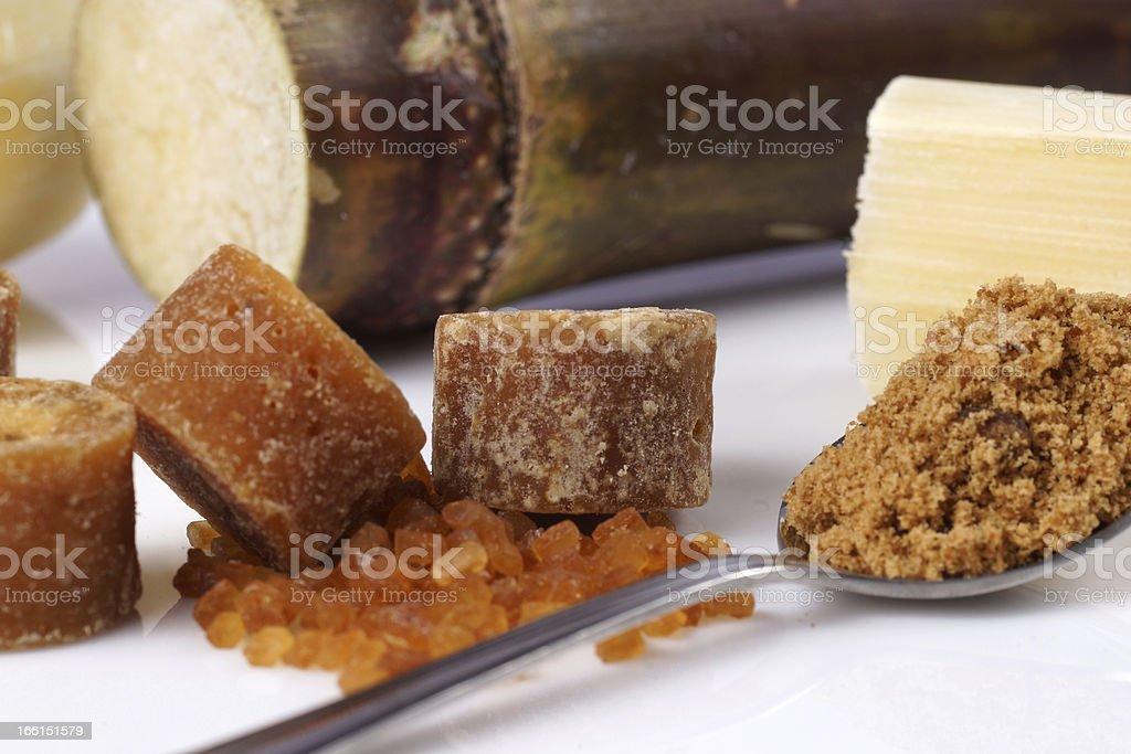 Various kinds of sugar and sugar-cane royalty-free stock photo