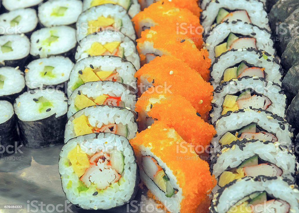 Various kinds of sushi maki roll stock photo