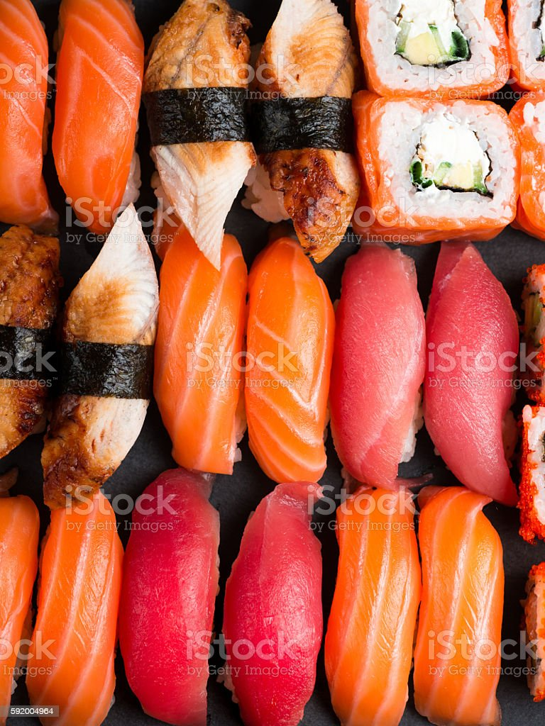 Various kinds of sushi stock photo