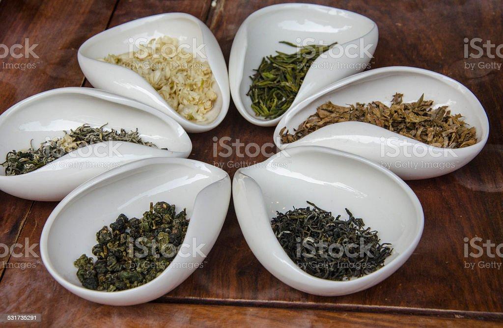 Various kinds of tea stock photo