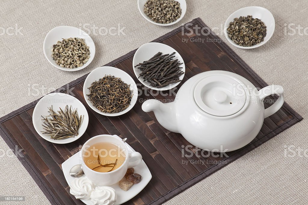 Various kinds of tea with cup and teapot stock photo
