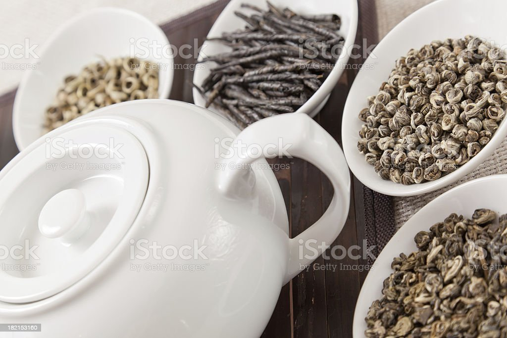 Various kinds of tea with teapot royalty-free stock photo