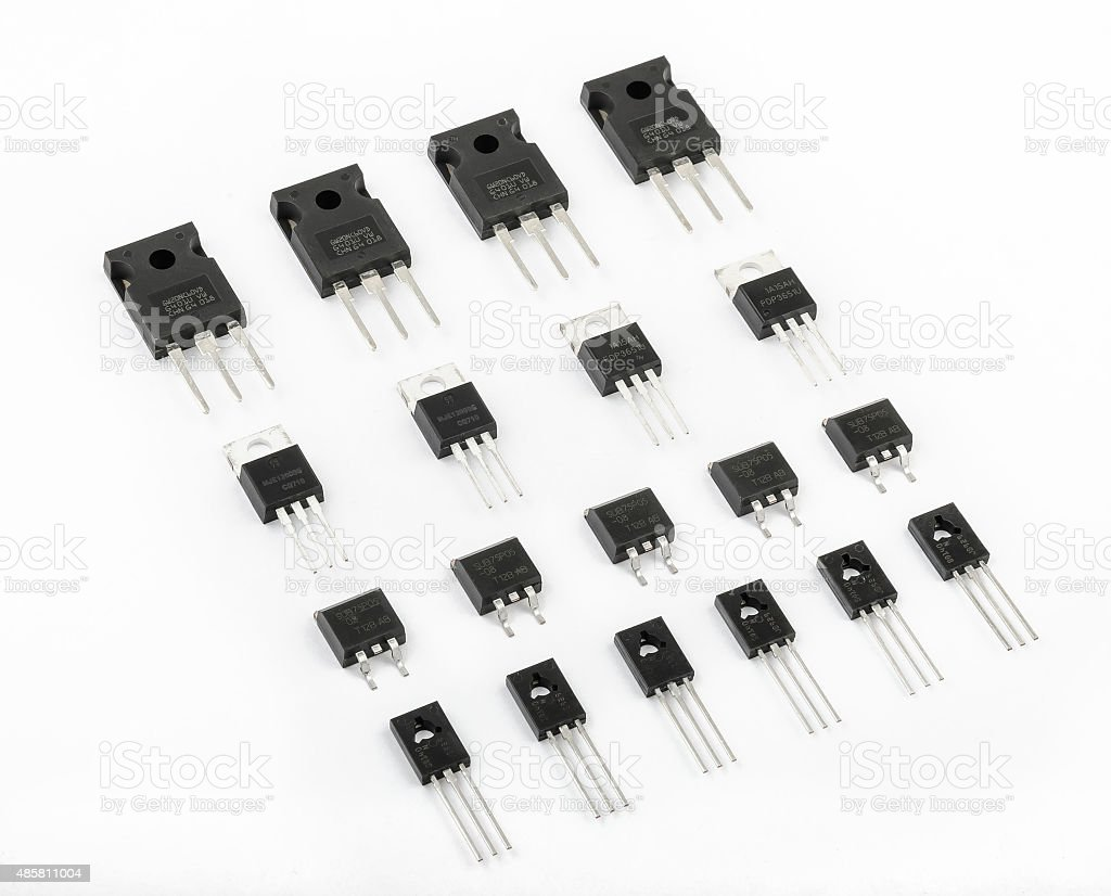 Various kinds of transistors stock photo