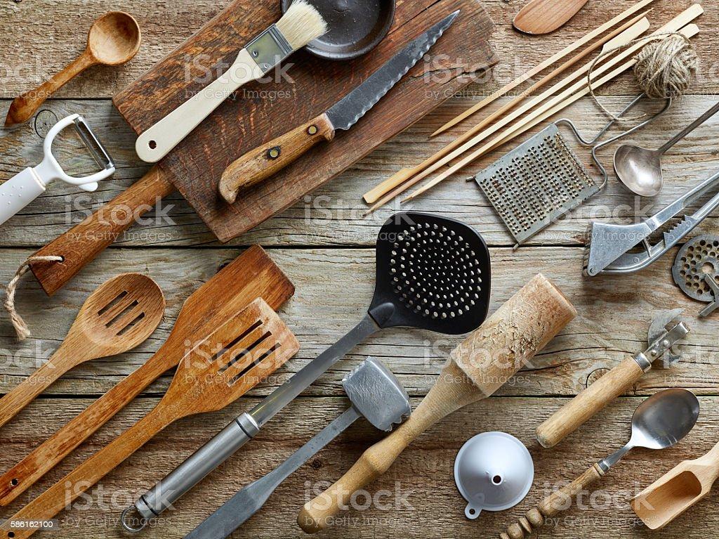 various kitchen utensils stock photo
