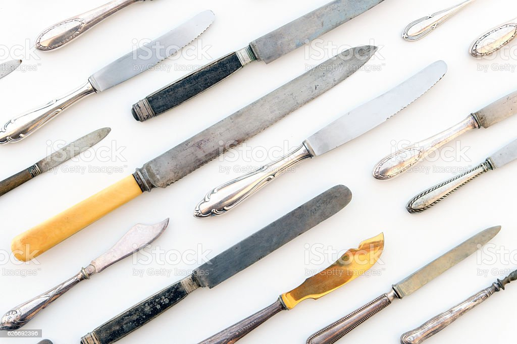 various knifes on white background , knife set stock photo