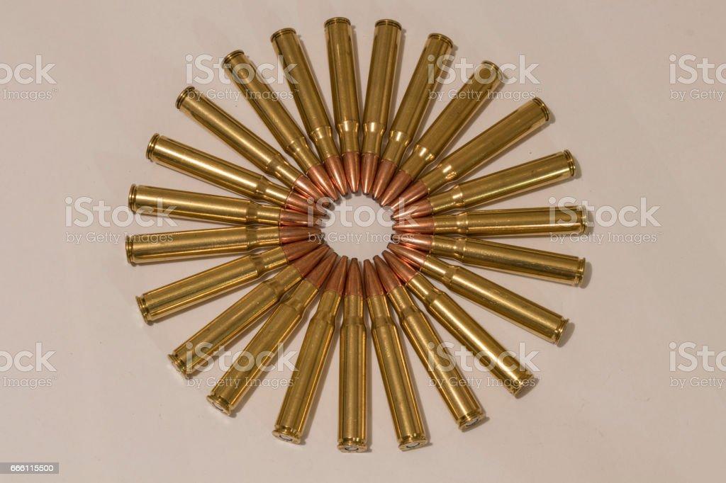 Various Large Caliber Ammunition in a Circle stock photo
