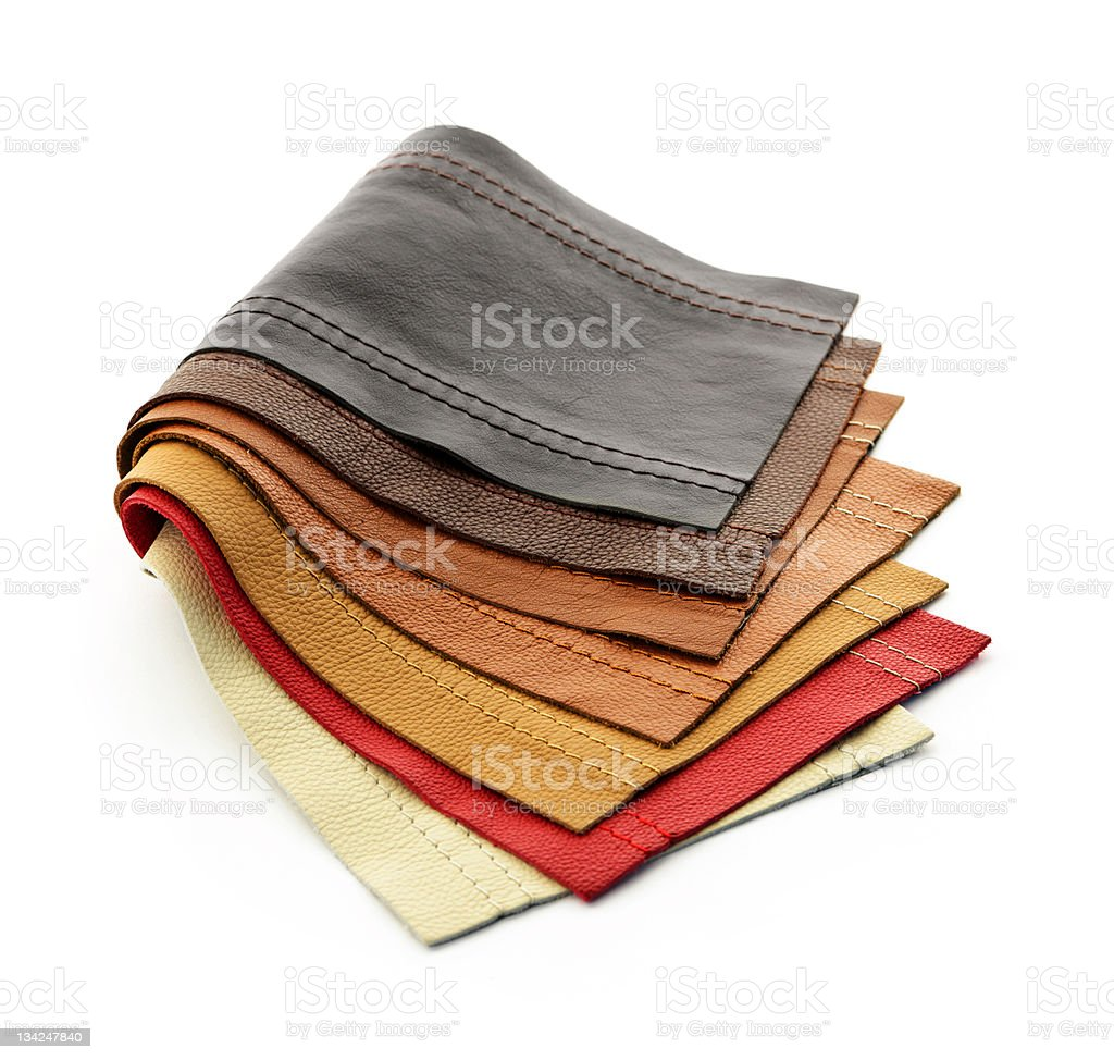 Various leather samples on a white background royalty-free stock photo