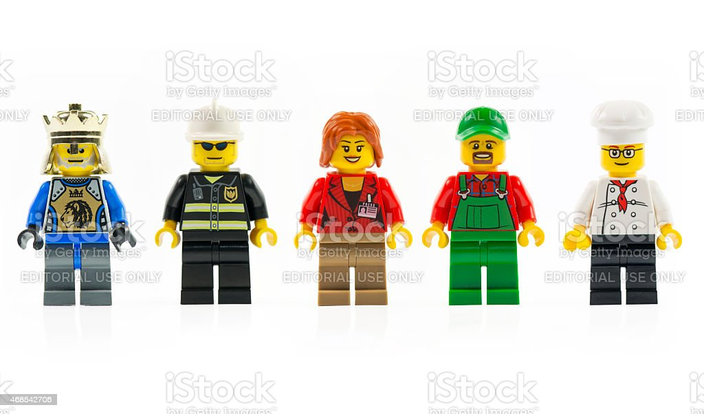 Various lego mini characters isolated on white. stock photo