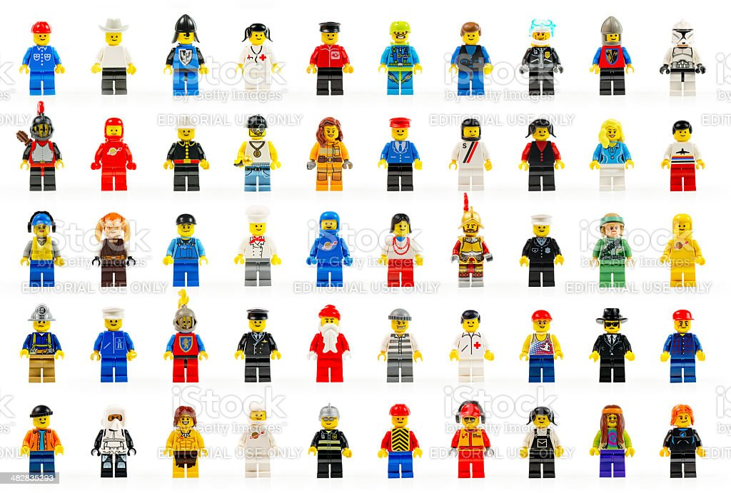 Various lego mini figures isolated on white. stock photo