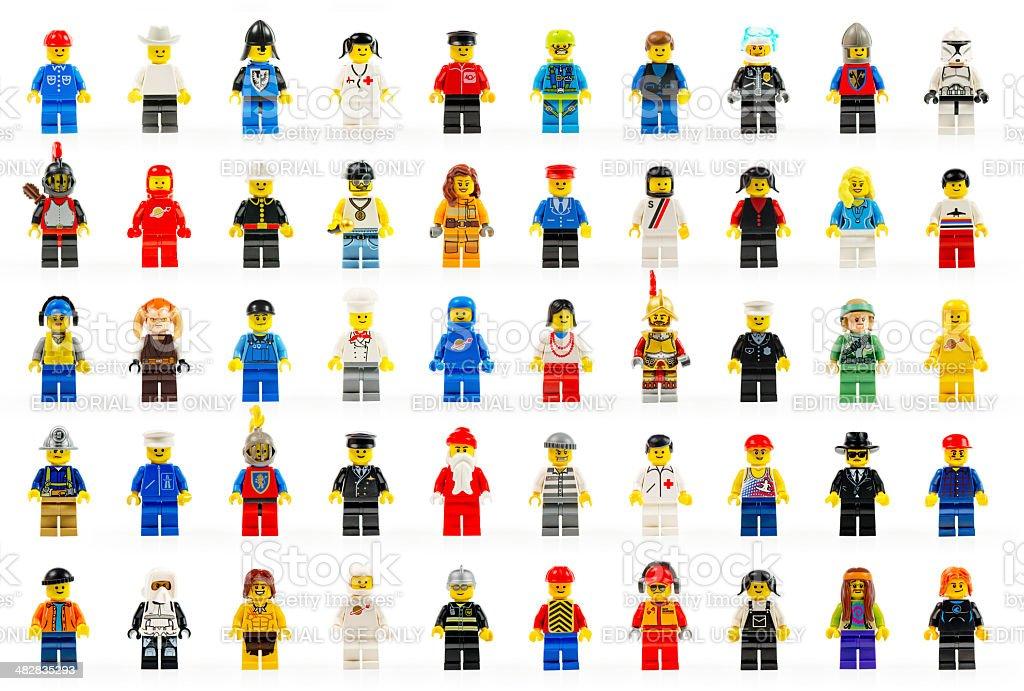 Various lego mini figures isolated on white. stock photo