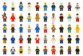 Various lego mini figures isolated on white.