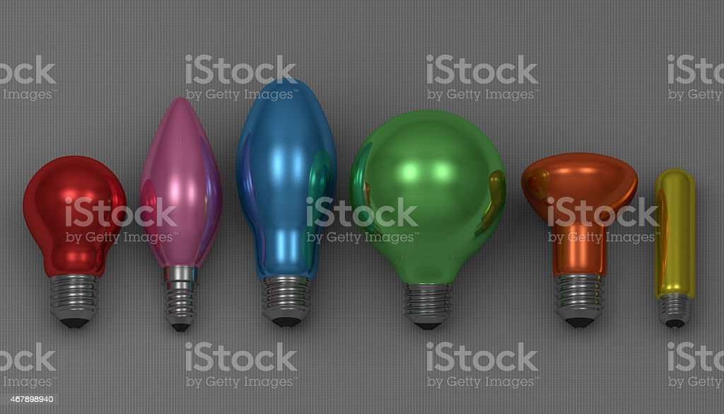 Various light bulbs stock photo