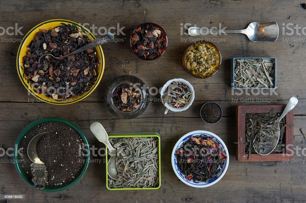 Various loose leaf teas stock photo