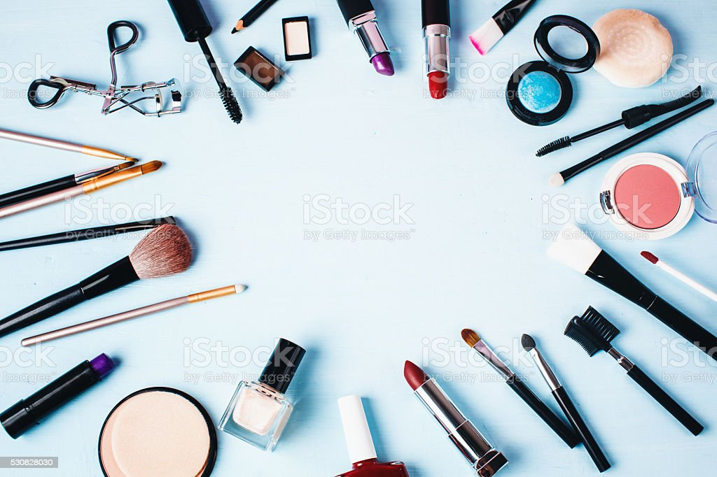 Various Make up and Beauty Products. stock photo