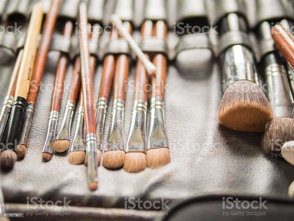 Various Make-up Brushes for the bride in Wedding Ceremony stock photo