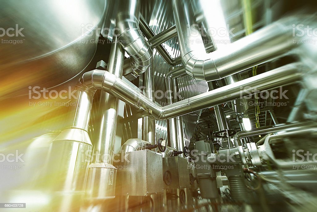 Various mechanisms and metal pipes. Toned image. Motion blur effect. vector art illustration
