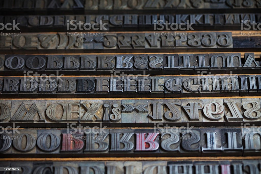 Various metal printing press letters stock photo