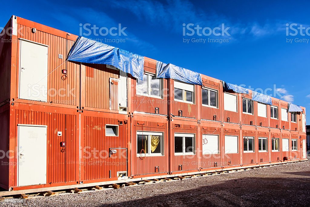 Various mobile home containers stock photo