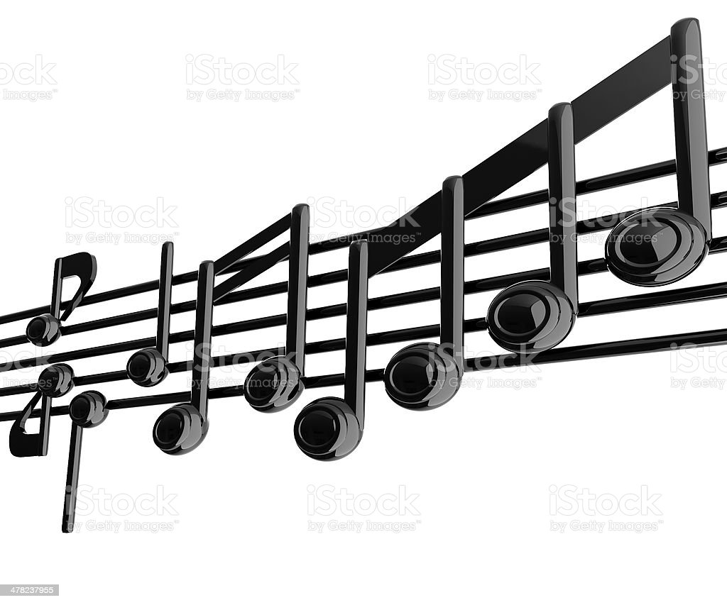 Various music notes on stave. Black 3d royalty-free stock photo