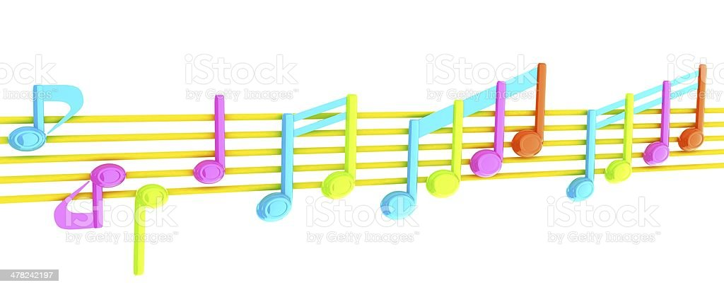 Various music notes on stave. Colorfull 3d royalty-free stock photo