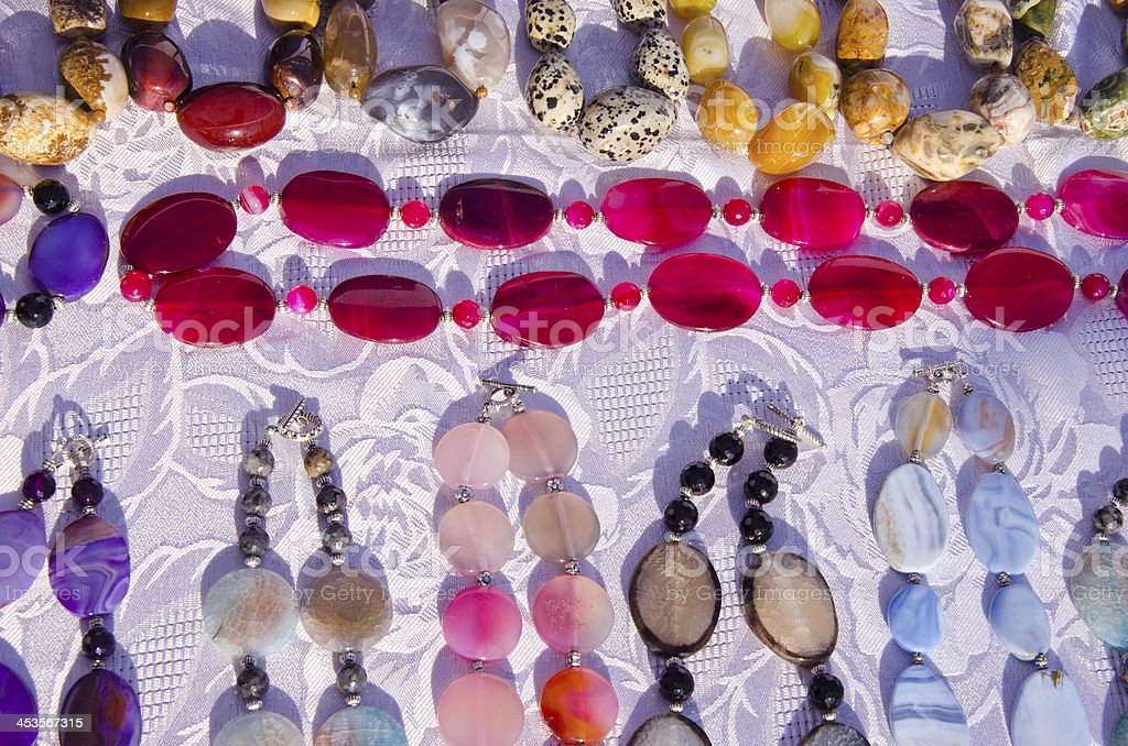 various necklaces in the fair stock photo