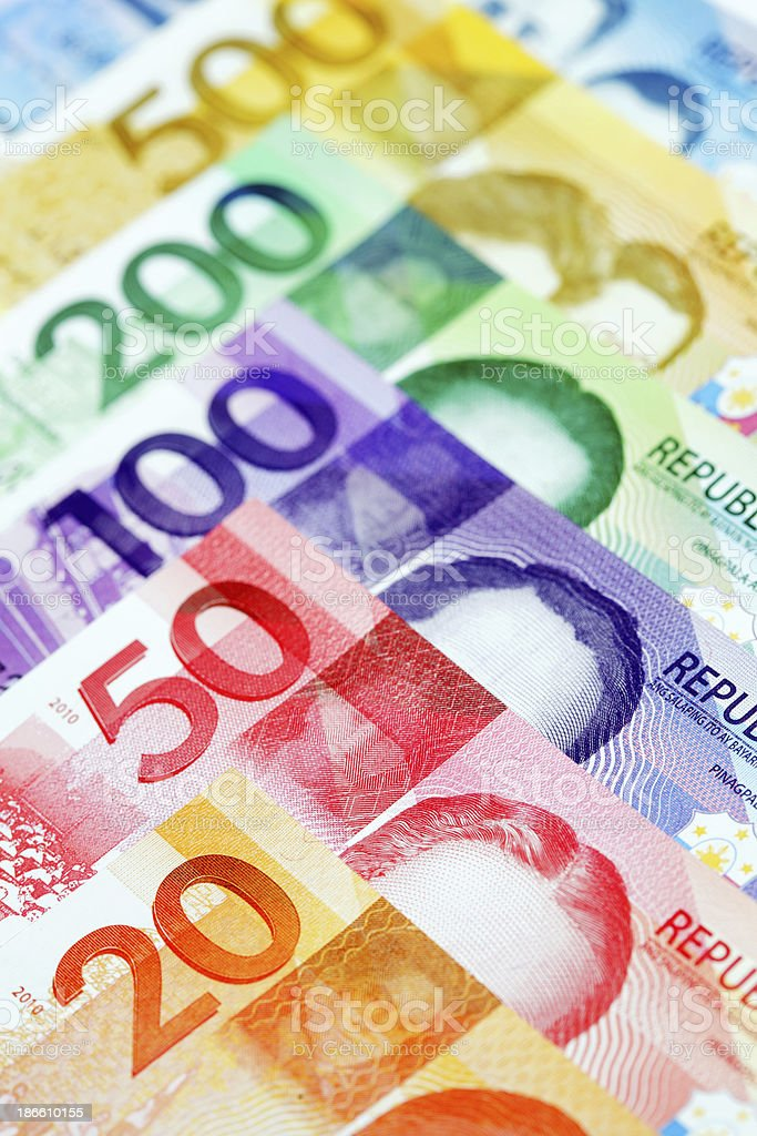 Various New Philippine currency royalty-free stock photo
