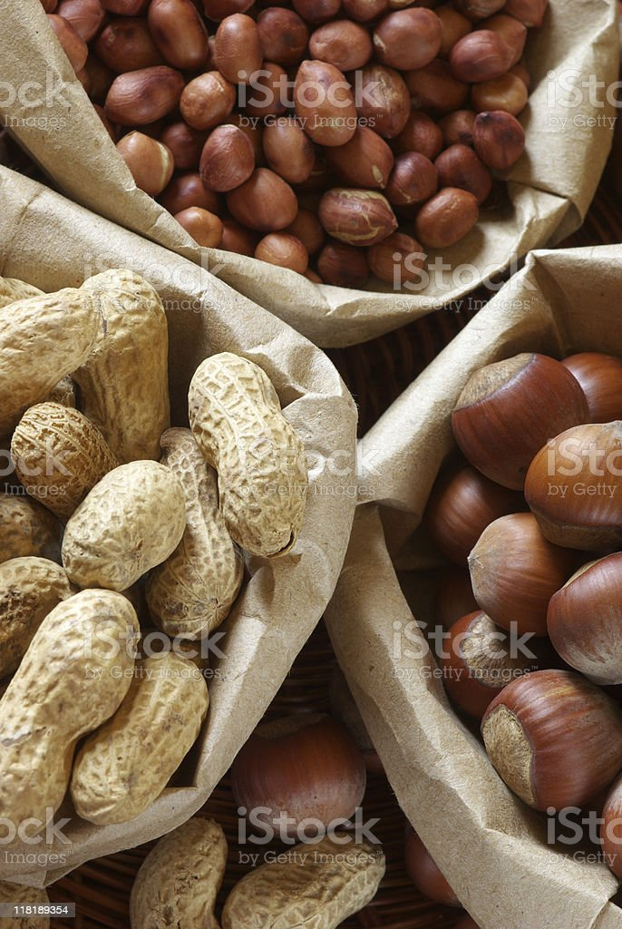 Various nuts in bags royalty-free stock photo