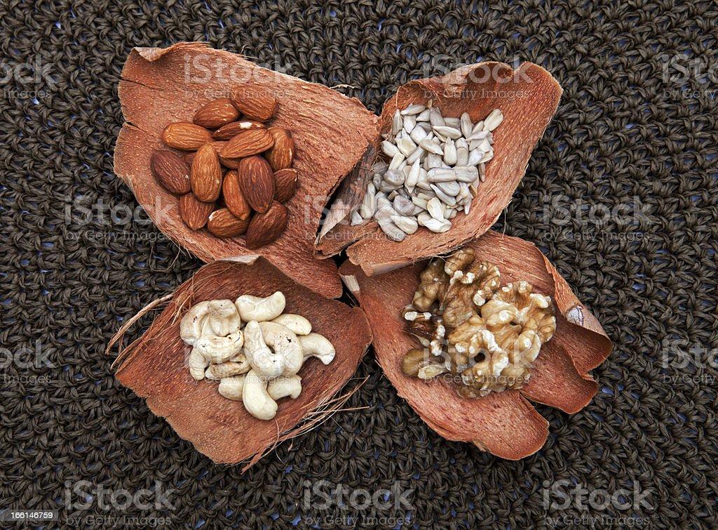 Various nuts on each potpourri royalty-free stock photo