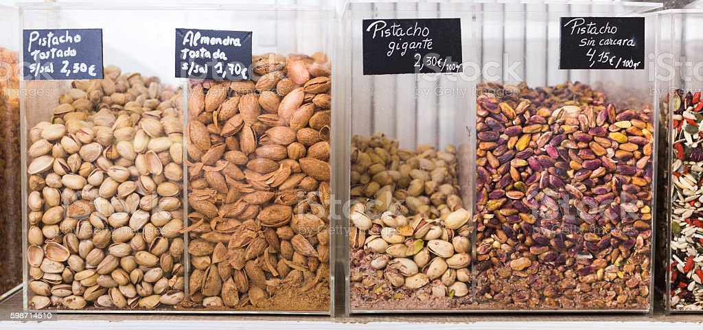 various nuts shop stock photo