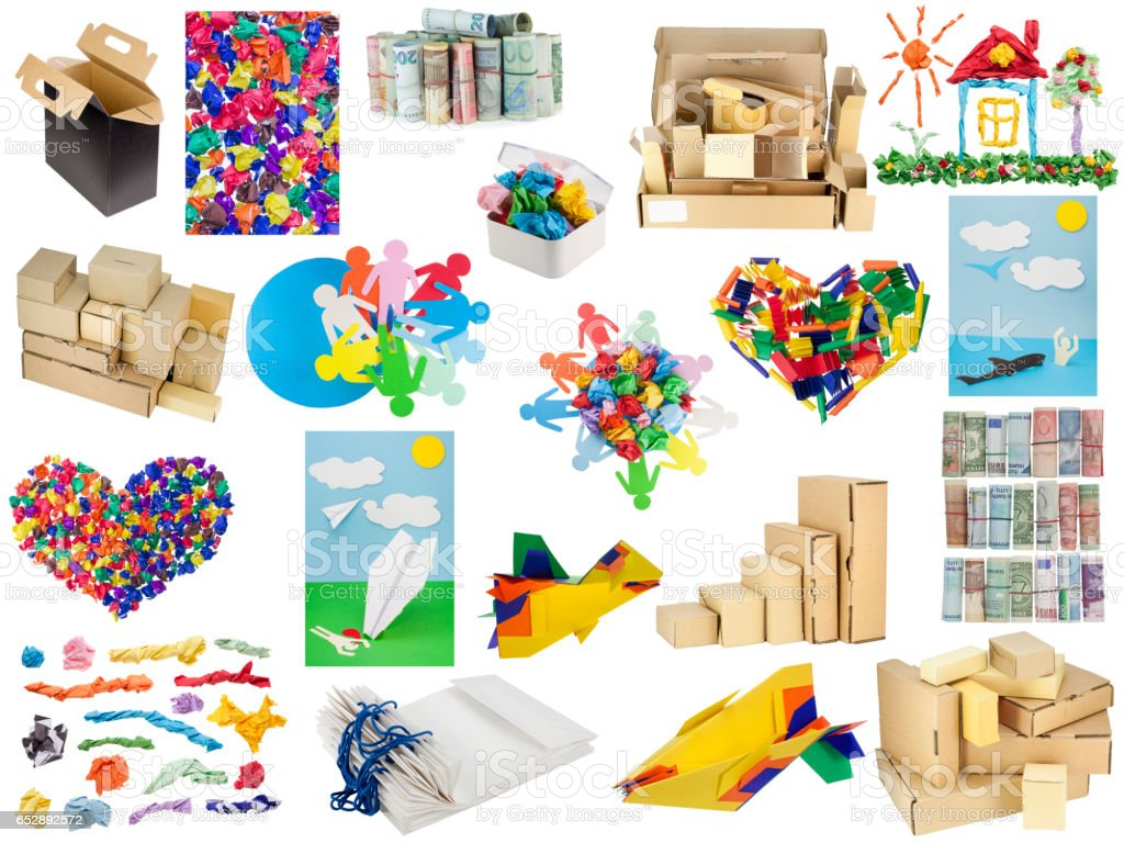 Various objects from paper and a cardboard collage set. All full size images and releases you can finde in my portfolio stock photo