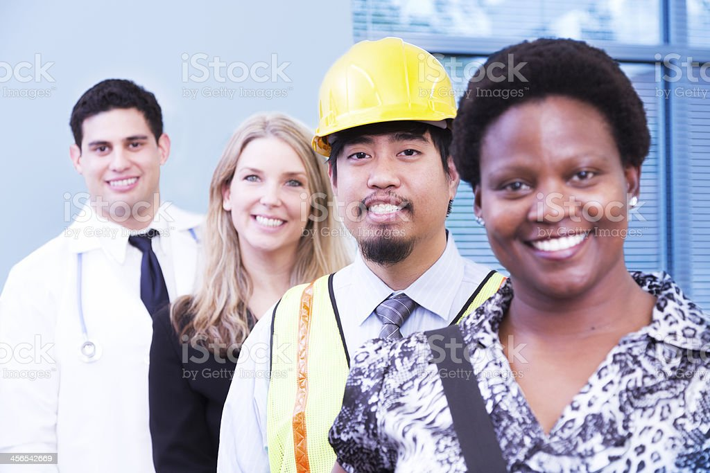 Various occupations: Construction, doctor, professionals. stock photo