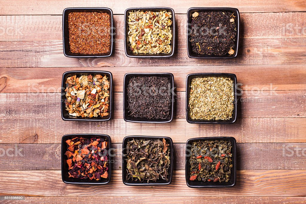 Various of tea in a box stock photo