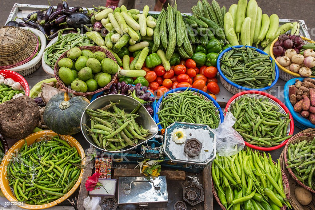 Various of vegetables at the street market in Mumbai, India stock photo