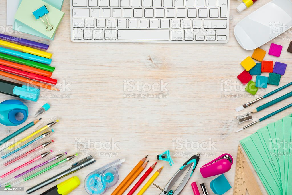 Various office supplies background with copy space in the middle stock photo