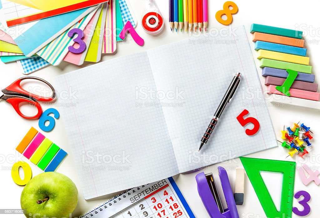 Various office supplies. Concept back to school stock photo