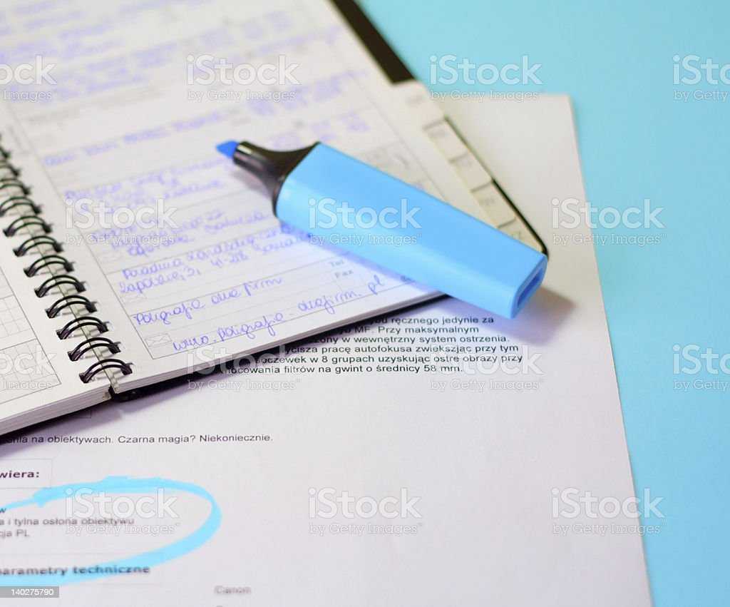 Various office supplies - documents on desk stock photo