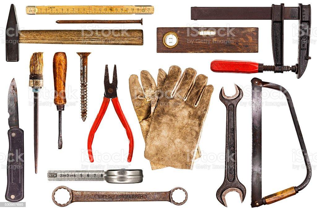 Various old craftsman tools stock photo
