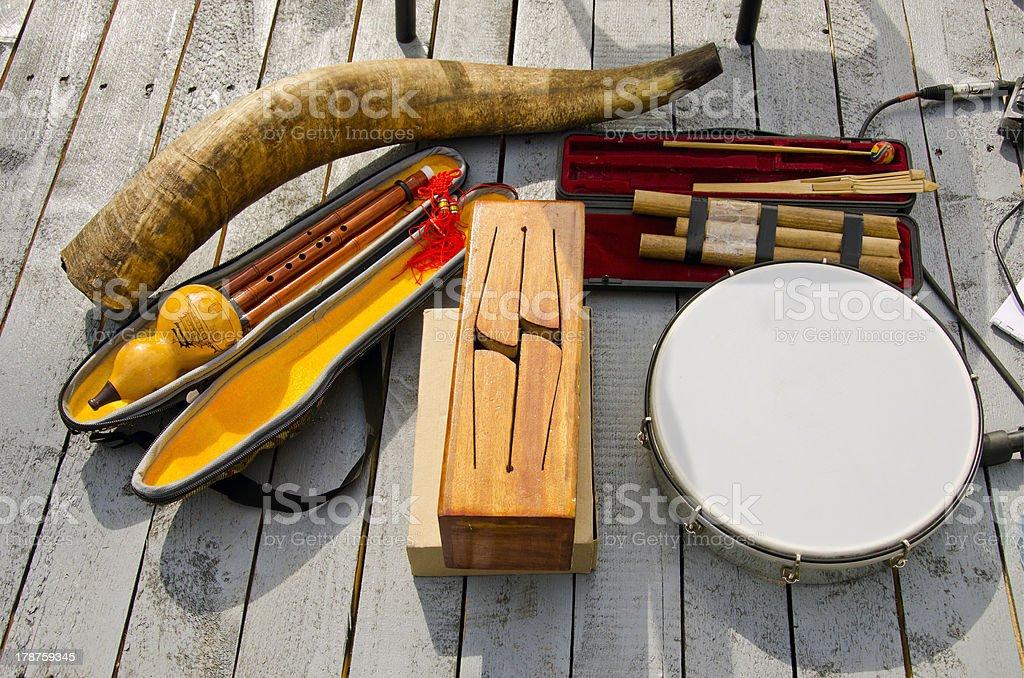 various original musical instruments stock photo