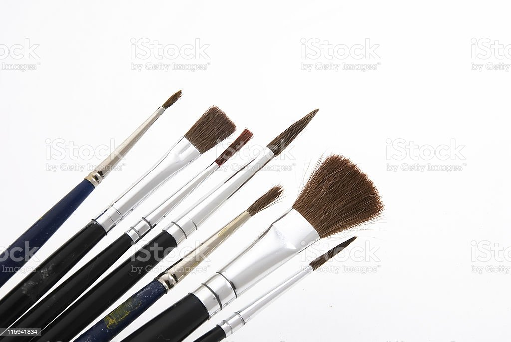Various paint brushes royalty-free stock photo