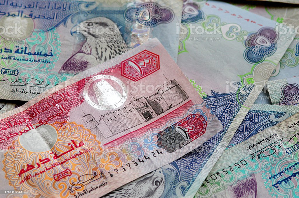 Various paper bills from a Middle Eastern country royalty-free stock photo