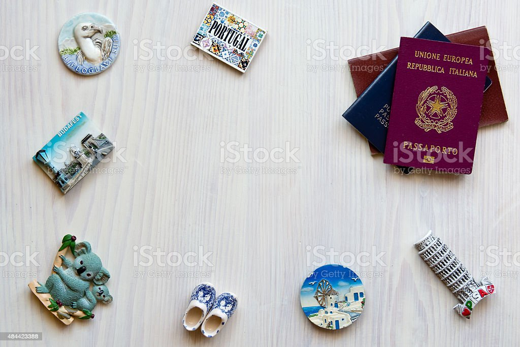 various passports and souvenir stock photo